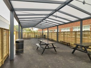 Bristol Free School Saddle roof Spaceshade internal view 2