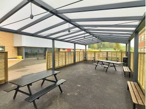 Bristol Free School Saddle roof spaceshade Internal view