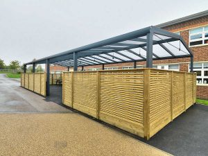 Bristol Free School Saddle roof Spaceshade external view