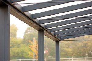 Bristol Free School Saddle roof spaceshade roof bar detail