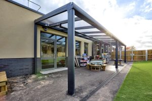 Wide angle view of Sea Mills School spaceshade canopy