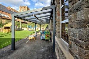 End view of Sea Mills School spaceshade image