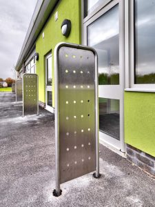 Stainless steel door barriers close up