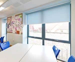 Roller blind in classroom window