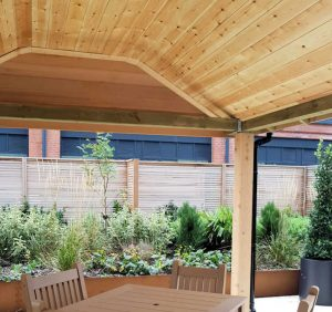 Cedar clad ceiling in the small shelter