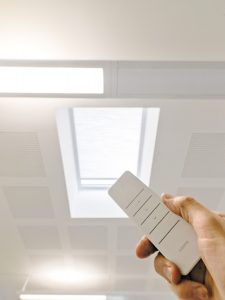 Pleated rooflight blinds by Kensington - remote control