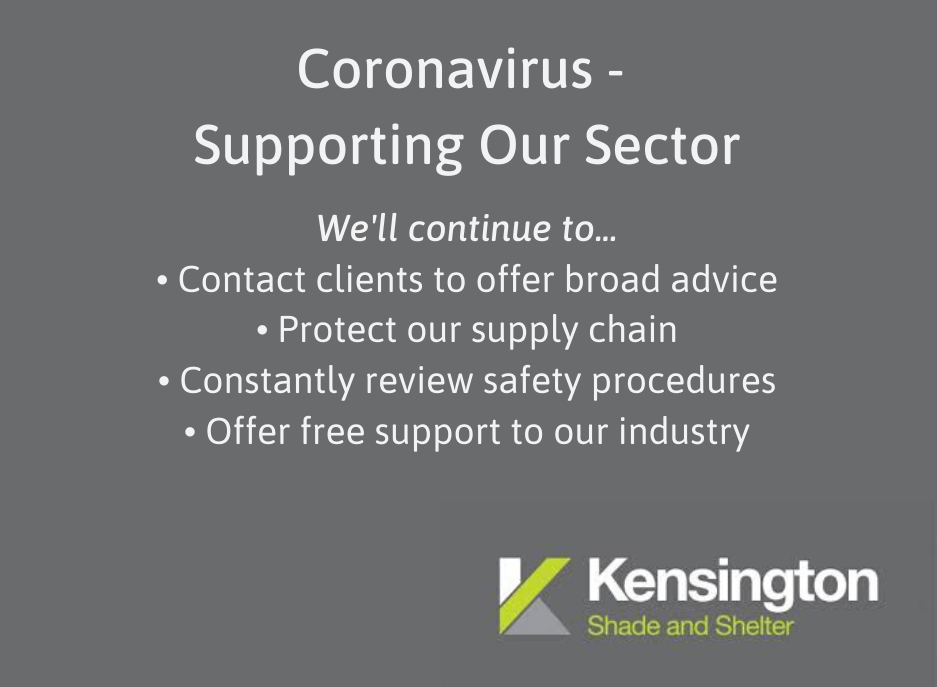 Text showing how Kensington Systems supports clients during coronavirus: advice, supply chain, PPE products